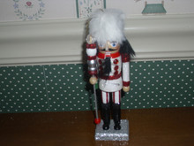 "KURT ADLER 6"" WOODEN NUTCRACKER ORNAMENT-WHITE FUR HAT-NEW"