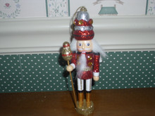"KURT ADLER 6"" WOODEN NUTCRACKER ORNAMENT- RED/SILVER KING-NEW"