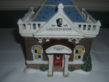 DEPT. 56 NEW ENGLAND VILLAGE PORCELAIN BUILDING- FOUNDERS' SQUARE-THE LINCOLN BANK