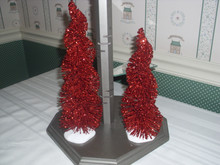 DEPT. 56 VILLAGE RESIN ACCESSORY-SPIRAL RUBY TREES -SET/2