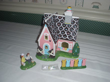 DEPT. 56- SNOW VILLAGE -EASTER SWEETS HOUSE-CERAMICUILDING WITH LIGHT CORD & 2 ACCESSORIES
