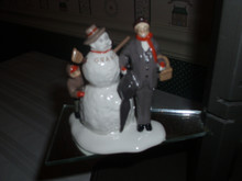 DEPT.56 SNOW VILLAGE- NORMAN ROCKWELL-CERAMIC ACCESSORY-GRANDFATHER & SNOWMAN