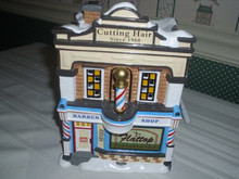 DEPT.56 SNOW VILLAGE ANIMATED BUILDING- FLATTOP BARBAR SHOP