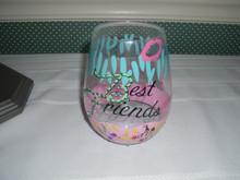 ENESCO-LOLITA-STEMLESS WINE GLASS-BEST FRIENDS