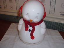 "DEPT. 56- SNOWPIONS COOKIE JAR-""MORE COOKIES PLEASE""-NEW IN BOX"