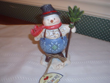 JIM SHORE PINT SIZED FIGURINE- SNOWMAN WITH SUSPENDERS-NEW