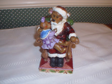 JIM SHORE/BOYDS BEARS FIGURINE-2013-SANTA WITH HOLLY- NEW IN BOX