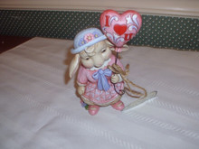 "JIM SHORE-2015 HEARTWOOD CREEK ANNUAL LOVE BUNNY FIGURINE-""LOVE IS IN THE AIR-NEW IN BOX"
