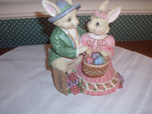 JIM SHORE-2019 EASTER FIGURINE- BUNNY COUPLE WITH EASTER BASKET-NEW IN BOX