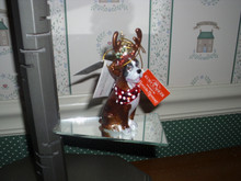 """KURT ADLER 4"""" NOBLE GEMS GLASS ORNAMENT- BOXER WITH ANTLERS-NEW IN BOX"""