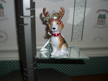 KURT ADLER 2017-BLOWN GLASS BEAGLE WITH ANTLERS-NEW IN BOX