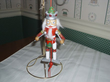 "KURT ADLER 5"" PULL-PUPPET- RED NUTCRACKER WITH DRUM ORNAMENT-NEW"