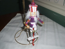 "KURT ADLER 5"" PULL-PUPPET-PURPLE NUTCRACKER WITH SPEAR ORNAMENT-NEW"