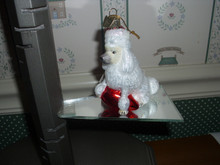 """KURT ADLER-3.5"""" GLASS WHITE POODLE WITH RED LIGHT ORNAMENT-NEW"""