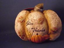 "HANNA'S HANDIWORKS-THANKFUL PUMPKIN-""GIVE THANKS""-NEW"