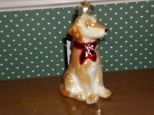 "KURT ADLER 3.5"" -NOBLE GEMS BLOWN GLASS YELLOW LABRADOR RETRIEVER ORNAMENT"