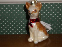 "KURT ADLER 3.5"" -NOBLE GEMS BLOWN GLASS CHIHUAHUA ORNAMENT"