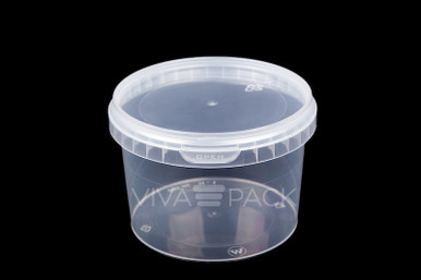280ml Crystal Clear pot with resealable lid, Material: Polypropylene, Food friendly, tamper proof, 100% leak proof, Microwave, dishwasher and freezer safe.