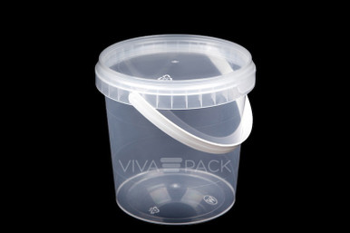 870ml Crystal Clear pot with resealable lid, Material: Polypropylene, Food friendly, tamper proof, 100% leak proof, Microwave, dishwasher and freezer safe.