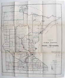 Rare Minnesota Map: General Land Office. Sketch of the Public Surveys in the State of Minnesota. Department of the Interior, General Land Office, October 2nd 1866.