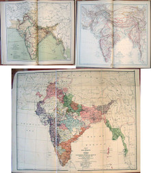 Rare Atlas, Saunders, Trelawney; An Atlas of India. Twelve Maps with Tables and Notes. Illustrating the Mountain and River Systems...1889