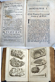 Rare Geology Book: Ray, John; Three Physico-Theological Discourses, concerning I. The Primitive Chaos, and Creation of the World. II. The General Deluge, its Causes and Effects. III The Dissolution of the World, and Future Conflagration.