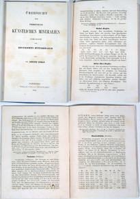 Rare Mineralogy Book: Gurlt, Adolph; Ubersicht Der Pyrogenneten Kunstlichen Mineralien... 1857