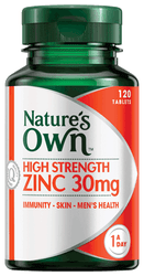 Nature's Own High Strength Zinc 30mg 120 Tabs
