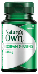 Nature's Own Korean Ginseng 500mg 50 Caps
