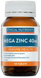 Ethical Nutrients Mega Zinc 40mg 120 Tabs