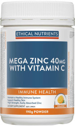 Ethical Nutrients Mega Zinc 40mg with Vitamin C Powder Orange 190g