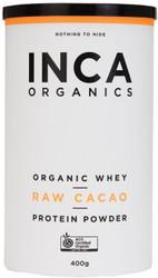 INCA Organics Organic Whey Raw Cacao Protein Superfood Powder 400g