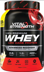 VitalStrength 100% Premium Whey Low Carb Protein 1kg Vanilla Ice Cream