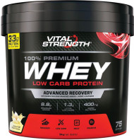 VitalStrength 100% Premium Whey Low Carb Protein 3kg Vanilla Ice Cream