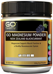GO Healthy Magnesium Powder New Zealand Blackcurrant 250g