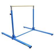 "Gibson Junior Bar Trainer - This adjustable training bar starts at a lower height for developing gymnasts, adjusting from 60 5/8"" to 75 5/8"" in 3"" increments. Mats as large as 4'x8' can be accommodated to fit the bar structure, which is 54"" wide and 72"" long. Blue powder-coated uprights, silver pistons, and a wood laminate finish bar."