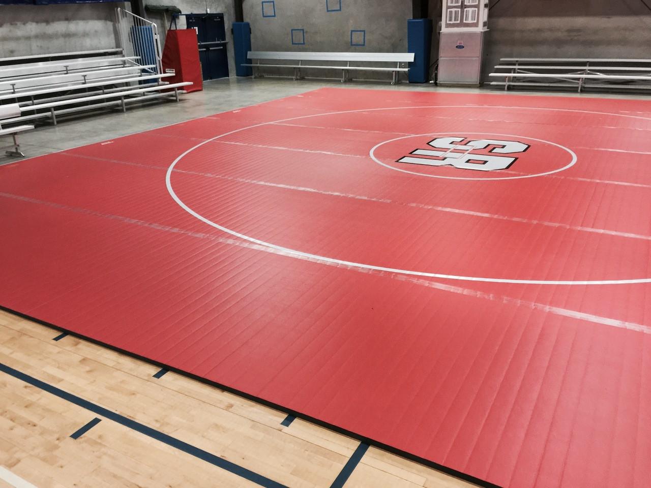 Pink wrestling mats