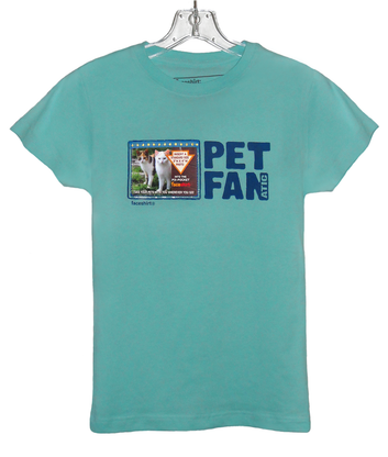 NEW! Pet Lovers T-shirt for Girls by Faceshirt with Pix-Pockets lets you wear and share your FAV pet photos with family and friends and everyone you meet. Show your Pet Pride available in several colors for kids and young adults. 100% Double Stitched Seam Cotton.