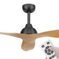 Brilliant Bahama DC Motor 132cm Charcoal/Maple & Remote Ceiling Fan