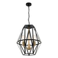 Mercator Prisma 3lt Black & Brass Hanging Pendant