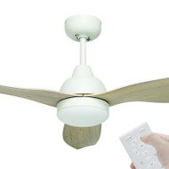 Brilliant Bahama DC Motor 132cm White/Whitewash LED Light & Remote Ceiling Fan