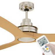 Mercator Flinders 140cm Brushed Chrome Ceiling Fan With LCD Remote