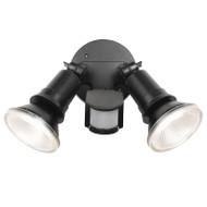 Telbix Comet 2 X 10w PAR30 LED Exterior Spotlight & Sensor Black