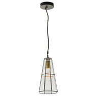 Mercator Edinburgh 1lt Black & Glass Hanging Pendant