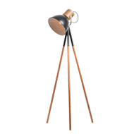 Mercator Calico Plywood Timber & Black Floor Lamp