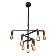 Eglo Foundry 9lt Industrial Pipe Hanging Pendant