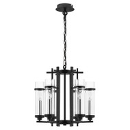 Eglo Lindale 6lt Black & Glass Hanging Pendant