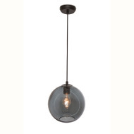 Mercator Milan 1lt Black & Smoked Glass Hanging Pendant