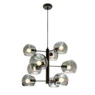 Mercator Milan 9lt Black & Smoked Glass Hanging Pendant