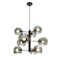 Mercator Milan 9lt Black & Smoked Glass Hanging Pendant
